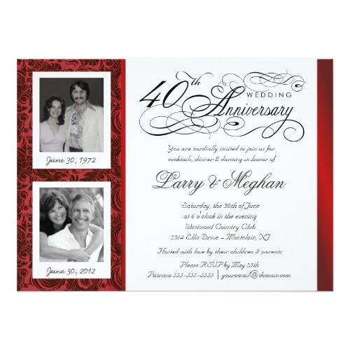 Silver Wedding Anniversary Gifts For Husband: Fancy 40th Anniversary Invitations - Then & Now
