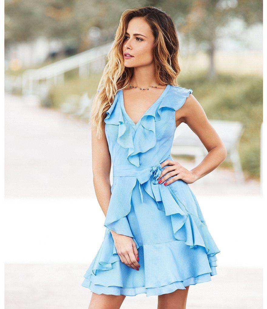 859a8a379954 Gianni Bini Isla Ruffle V-Neck Sleeveless Dress