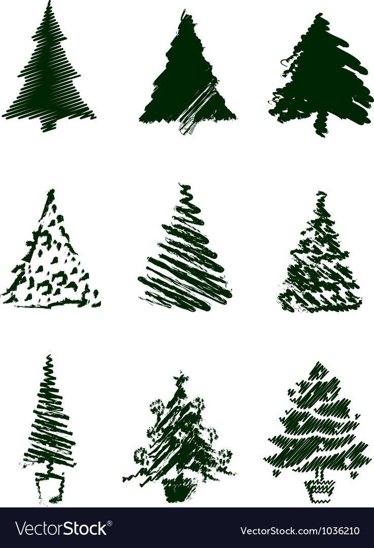 Christmas Tree Sketches Vector Image On Vectorstock Christmas Tree Sketch Tree Sketches Tree Icon