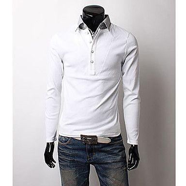 Men's Black-white Stripes Shirt Collar Long Sleeve T-shirt