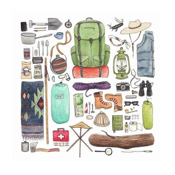 "Photo of Camping Gear collection. Giclee art print from original watercolor illustration. 10 ""x 10"""
