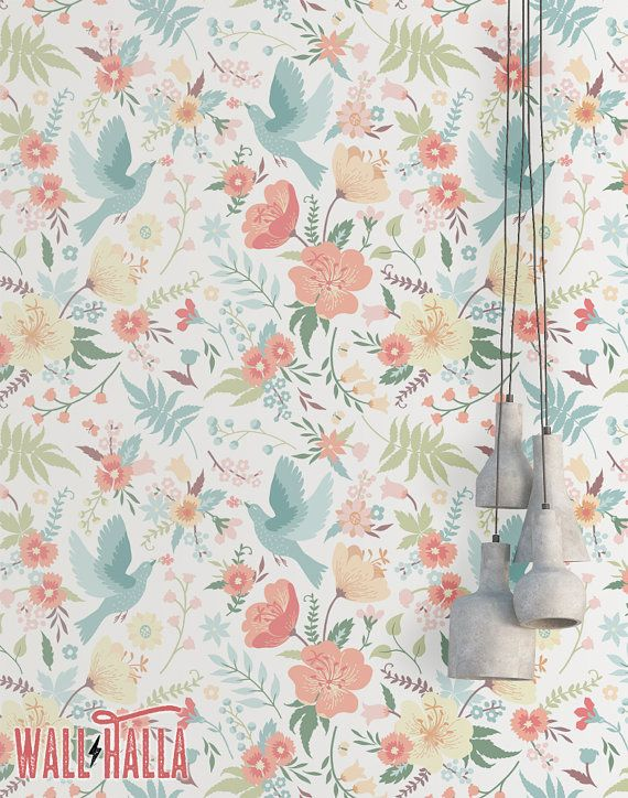 Doves And Flowers Wallpaper Removable Wallpaper Colorful Etsy In 2021 Peel And Stick Wallpaper Flower Wallpaper Floral Wallpaper