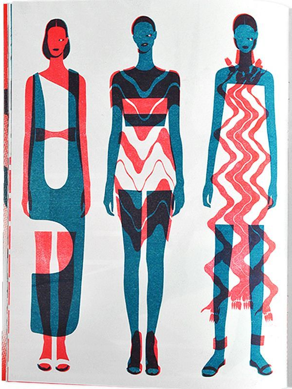 This fashion illustration is extremely modern, as this illustration uses basic shapes but it's very effective, sticking to minimum colour choices.