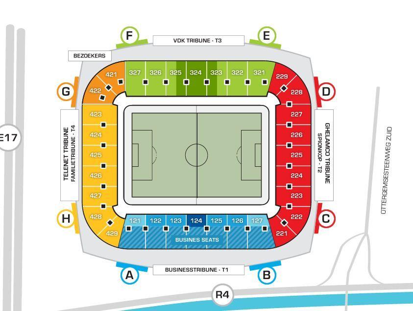 Ghelamco Arena Kaa Gent Stadium Layout