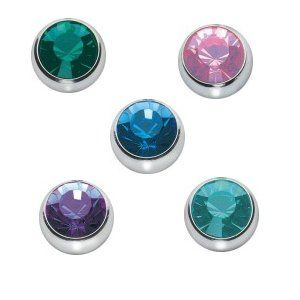 5 Quantity Gemstone Replacement Balls - 14 Gauge - 316LVM Surgical Steel  #bodyjewelry #balls #piercings