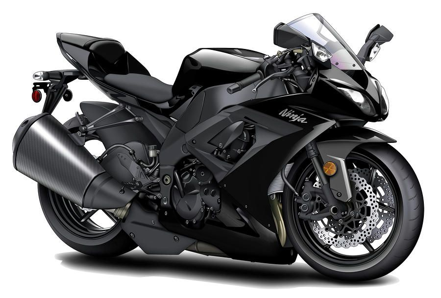 Kawasaki Ninja Black Motorcycle By Maddmax Blue Motorcycle