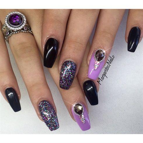 Black & Purple by MargaritasNailz from Nail Art Gallery - Black & Purple By MargaritasNailz Love Your Nails! Pinterest