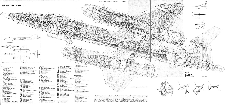 bristol 188 supersonic research aircraft cutaway