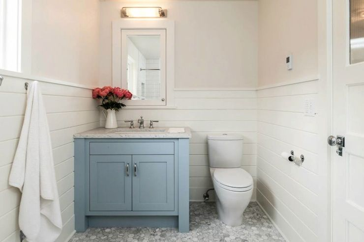 Source Jas Design Build Website Guest Bathroom With Off White Walls Paired With White Tongue And G With Images Blue Bathroom Vanity Bathroom Vanity Bathroom Design Black