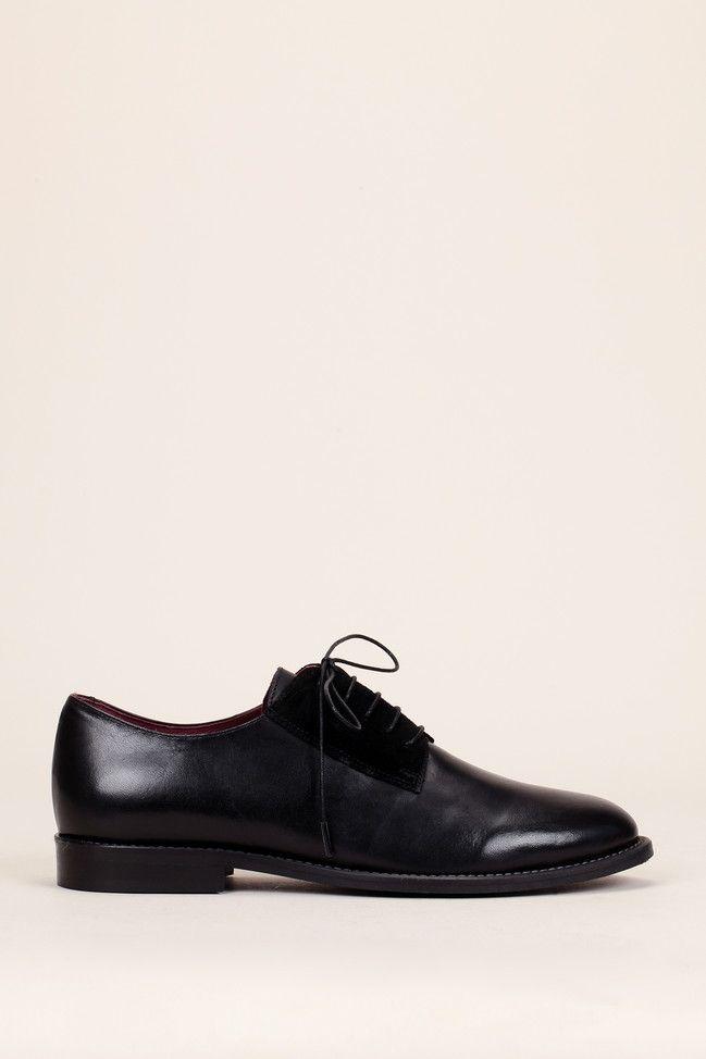 d3ac194a22f Derbies noires cuir lisse velours Diantha - Jonak