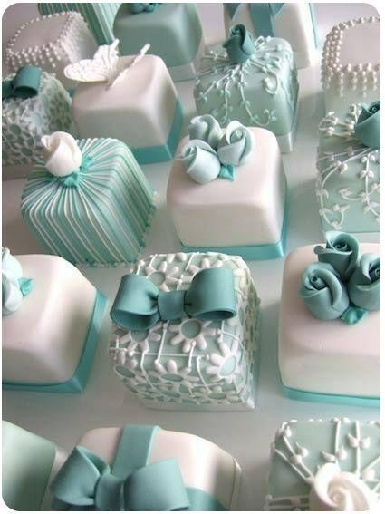 cakes....Tiffany blue petite fours.