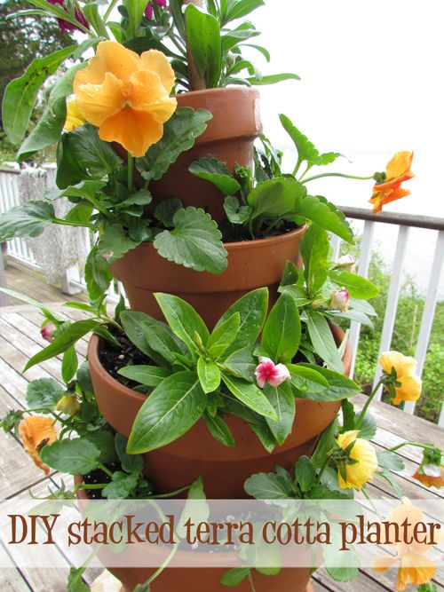 Terracotta Stacked Planter | DIY Fun, Stacked Terra Cotta Planter