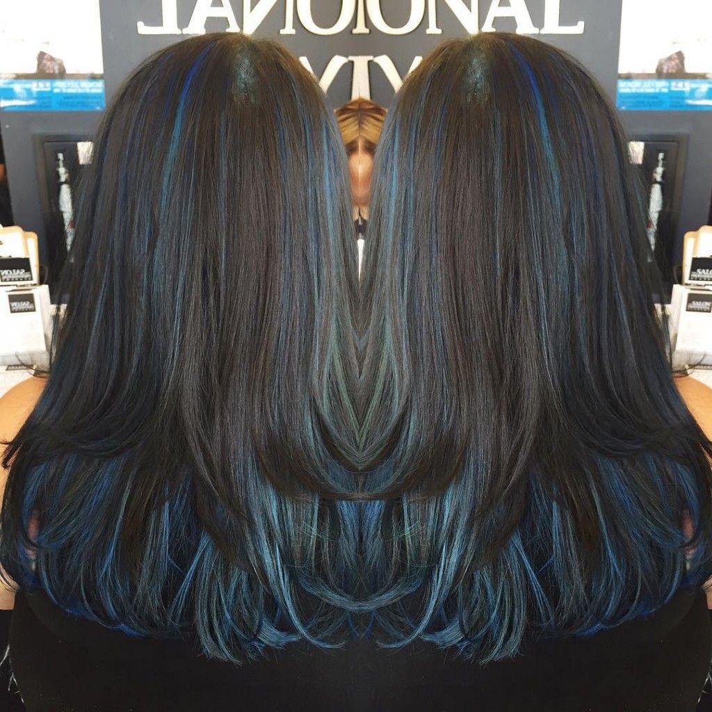 Dark Hair With Blue Highlights Blue Hair Highlights Hair Color