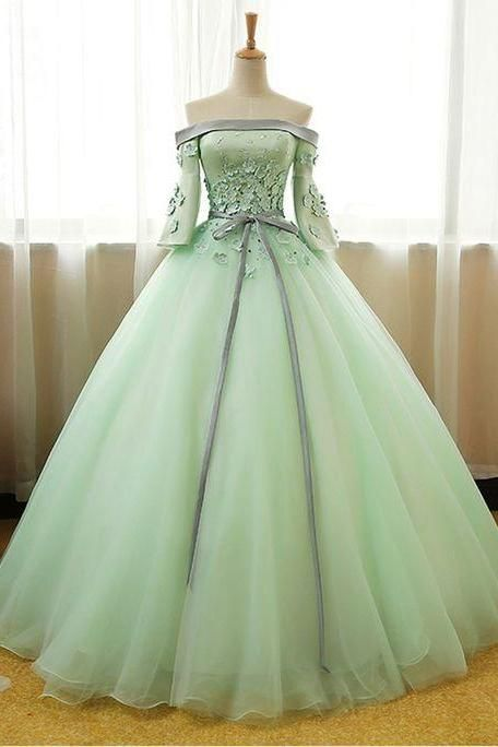 MINT TULLE ,OFF SHOULDER, MID SLEEVES, LONG EVENING DRESS WITH SILVER GRAY SASH