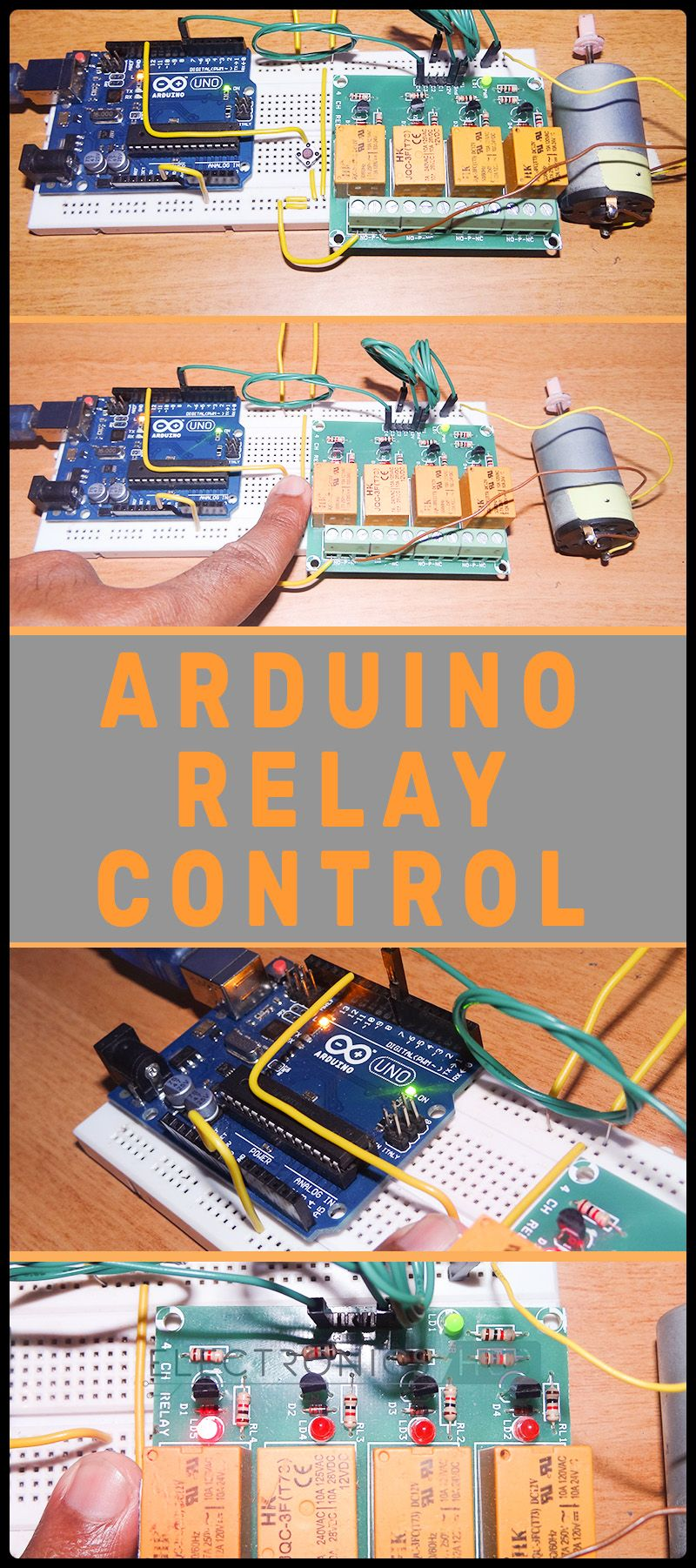 Arduino Relay Control Projects Pinterest Wiring A Microcontroller Is Used To Drive The Hence Uno Which An Atmega 328p Based Prototyping Board In Project