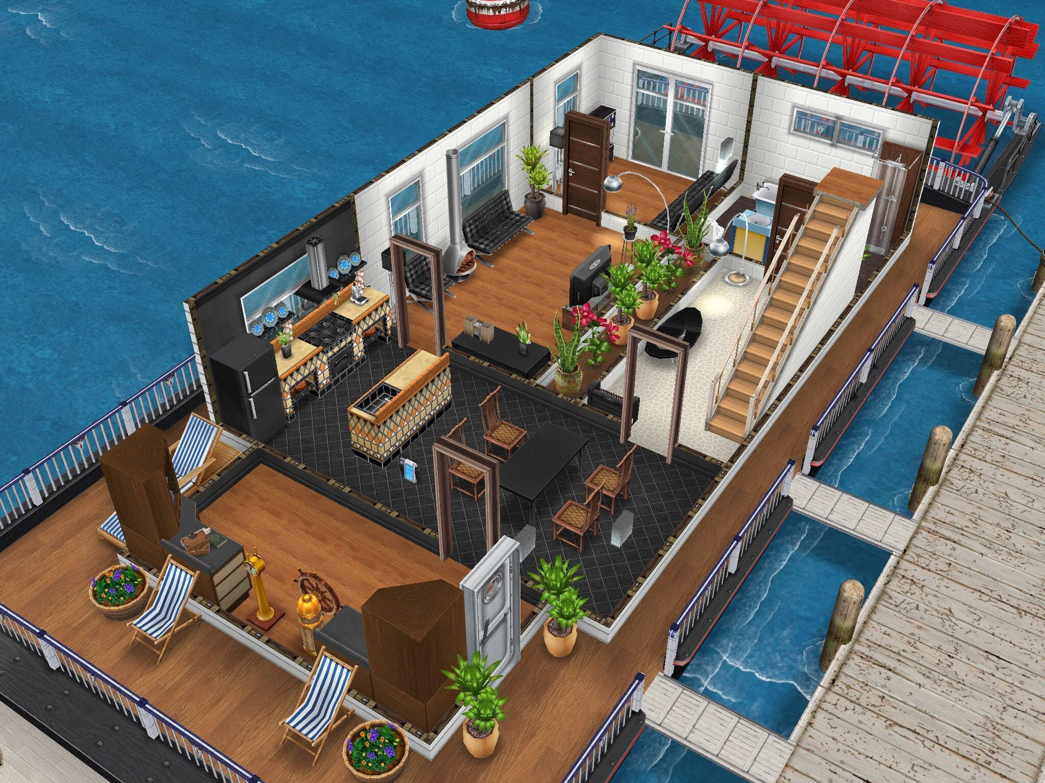 Sims Freeplay House Design Houseboat 1 Sims House Ideas Pinterest Houseboats House