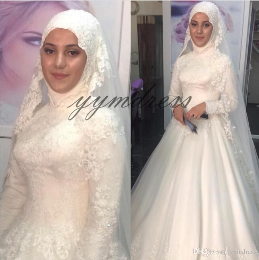 New Arabic Muslim Wedding Dresses 2019 High Neck Long Sleeves Full Sleeves Lace Appliques Floor Length Plus Size Formal Bridal Gown China Wedding Dress Tulle Ba Ball Gowns Wedding Ball Gown