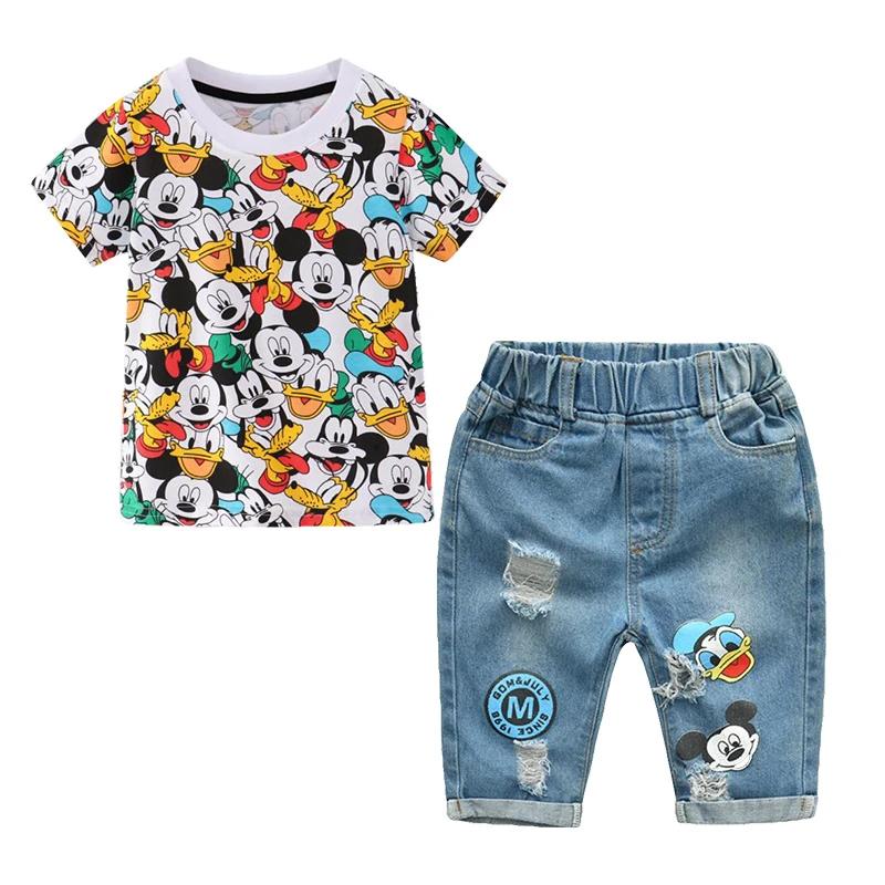 Denim Shorts Pants Clothes Casual Set Toddler Kids Baby Boy Crown T Shirt Tops