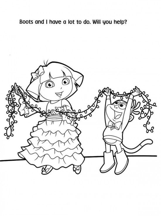 Free Printable Dora Christmas Coloring Pages Picture 1