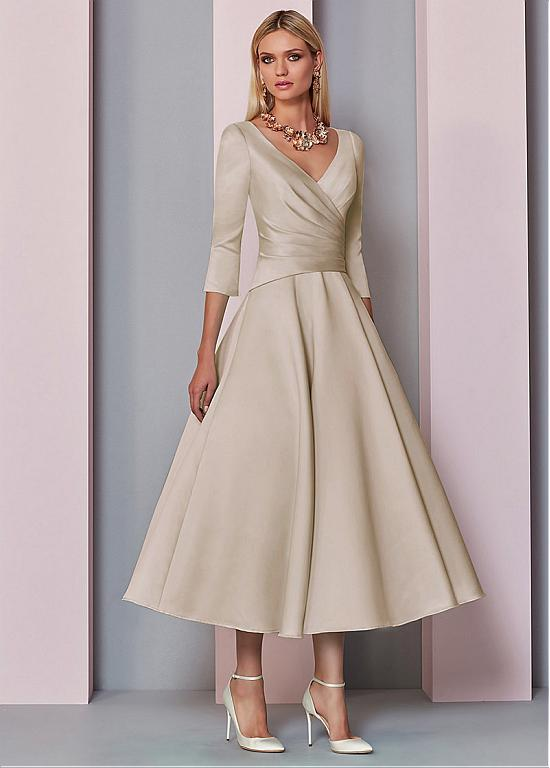 b4e6ec622a3 Buy discount Graceful Satin V-neck Neckline Tea-Length A-line Mother Of The  Bride Dress at Ailsabridal.com