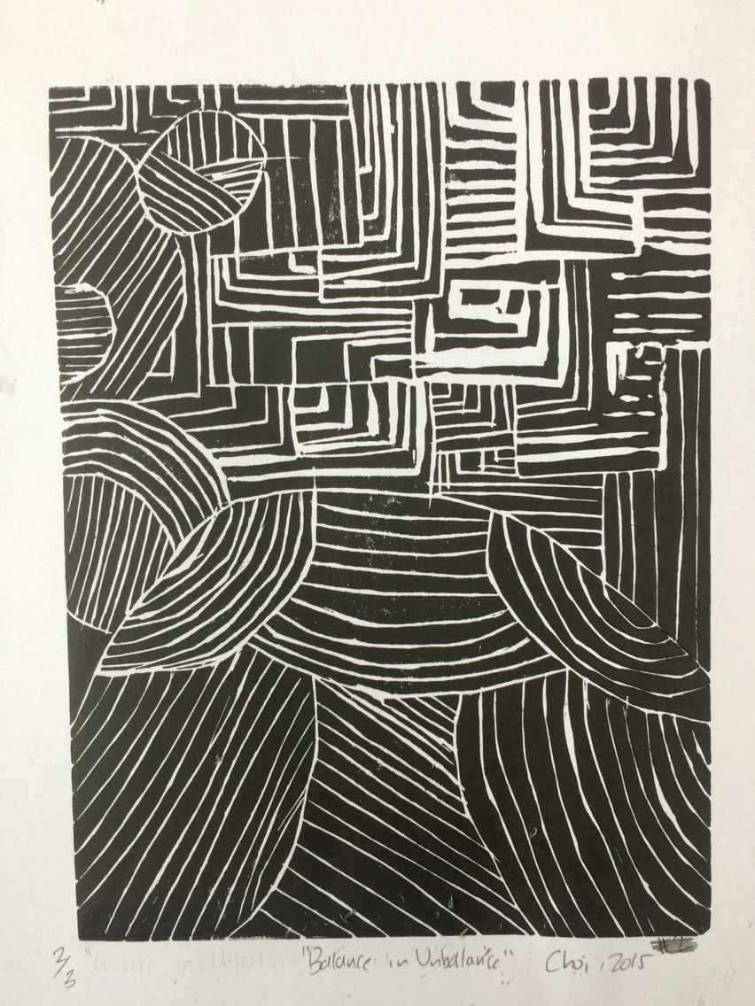 """(Un)balanced2."" Choi. 2015. Linoleum print"