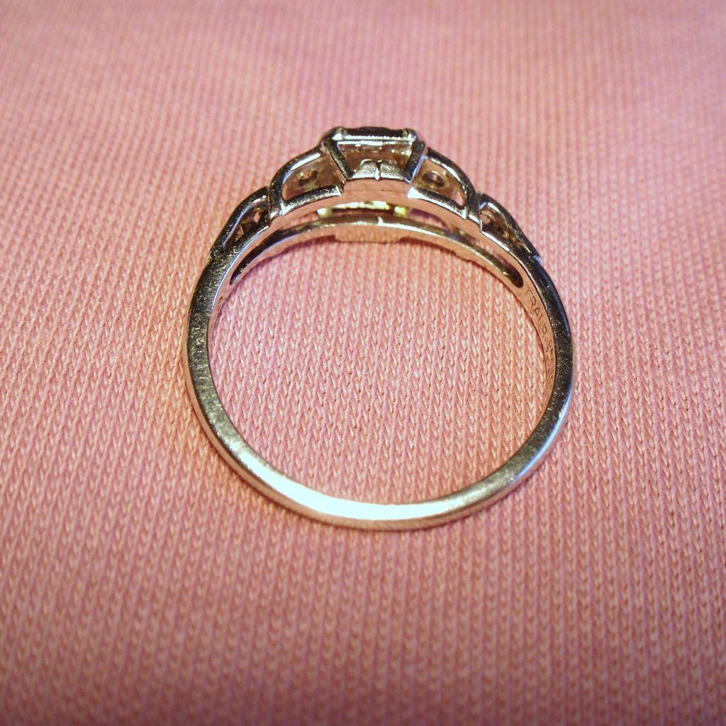 Vintage Traub Art Deco Iridium Platinum Diamond Engagement Ring ...