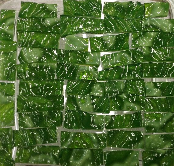 50 Variegated Green BORDERS  RIPPLE Stained by StainedGlassLizard, $6.50