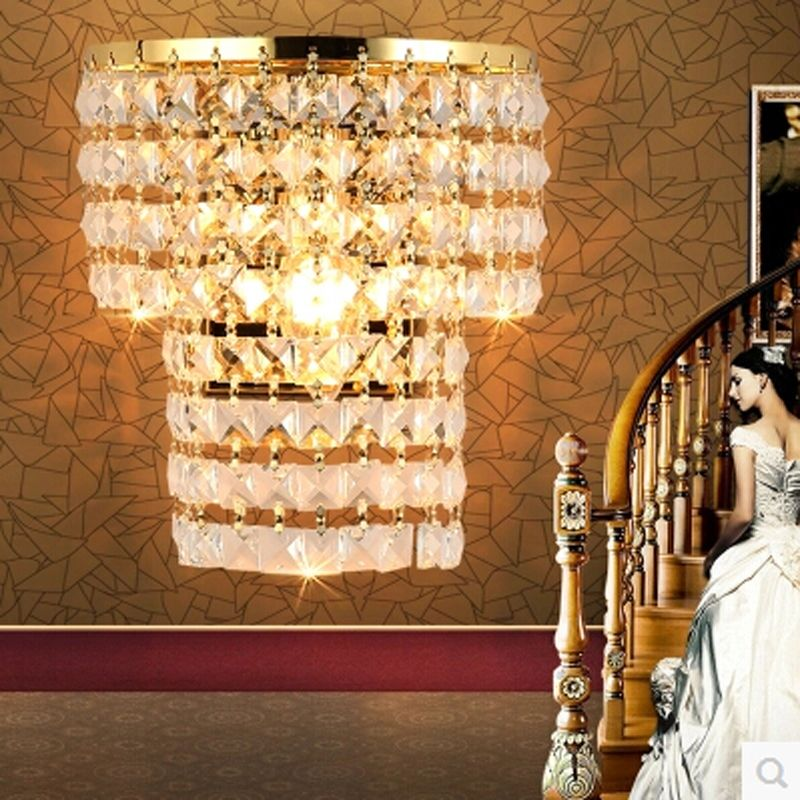 Luxury Wall Sconce Fixture K9 Crystal Wall Light Sconces Home Decor AC 90-220V Metal  sc 1 st  Pinterest & Luxury Wall Sconce Fixture K9 Crystal Wall Light Sconces Home Decor ...