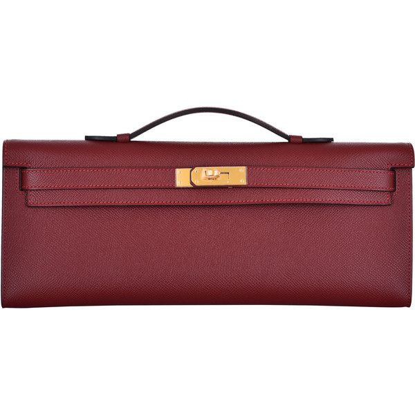 c374ffd57c64 ... 50% off pre owned hermes kelly rouge h bag kelly cut clutch pochette  gold.