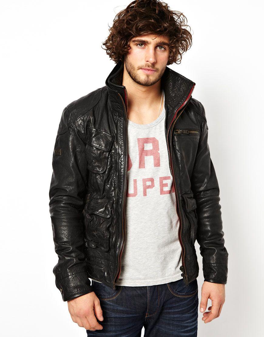 Leather jacket superdry - Superdry Mens Leather Jacket Brown