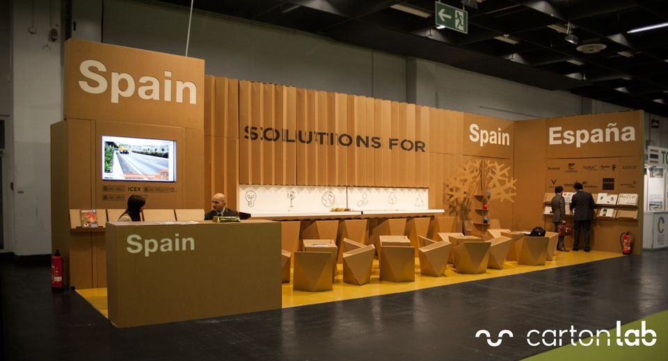 Expo Exhibition Stands Yellow : Stand carbon expo pabellón español icex stands