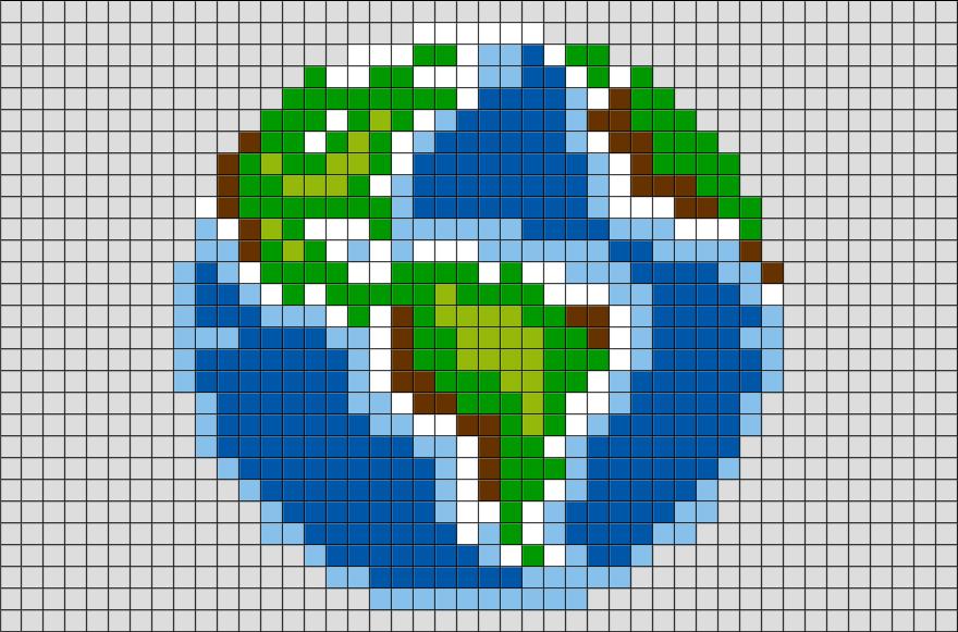 Earth Pixel Art Cross Stitch Embroidery Pixel Art Grid