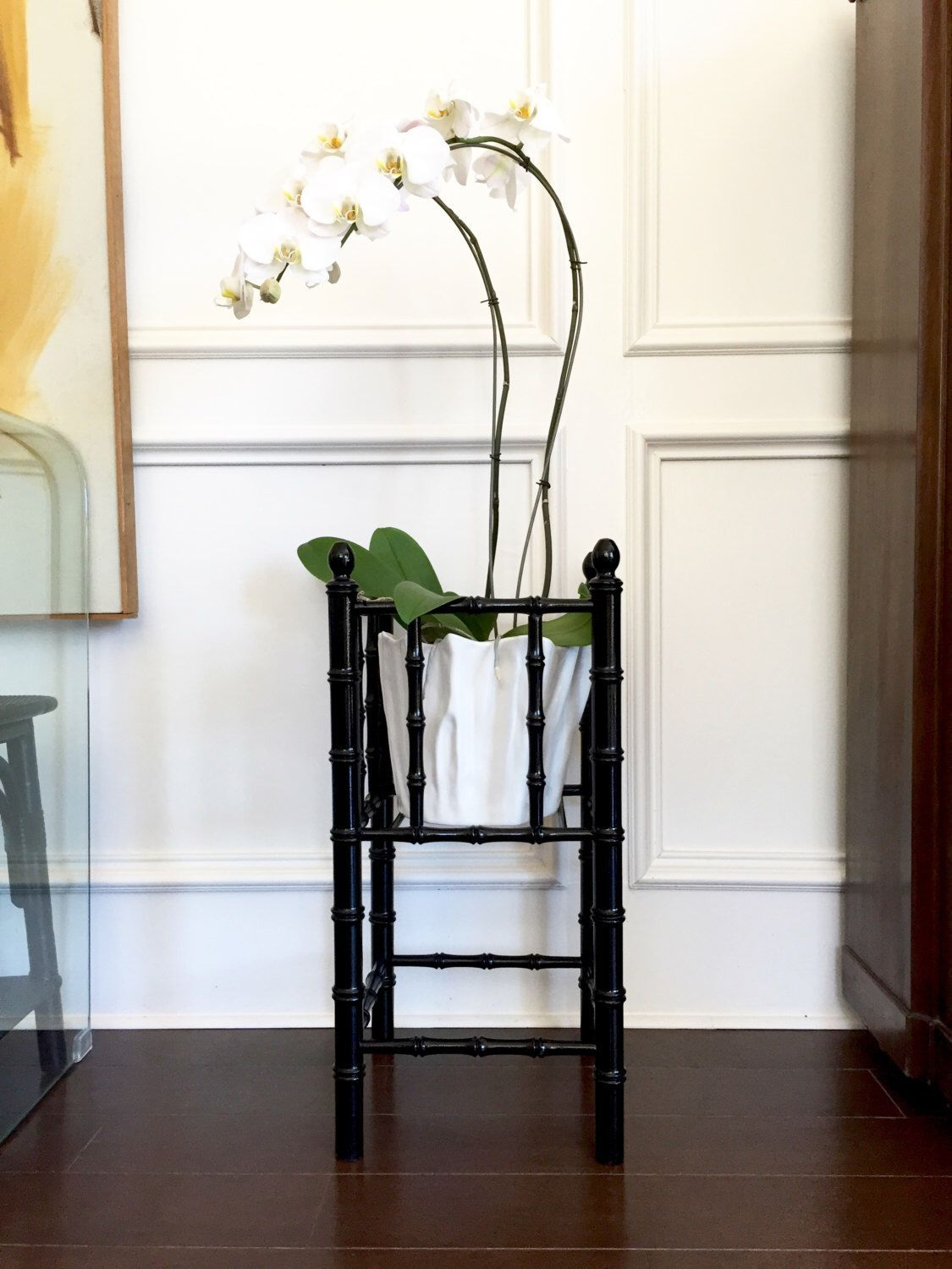 Faux bamboo plant stand | Chippendale or Chinoiserie style bamboo planter | glossy black vintage | modern planter#bamboo #black #chinoiserie #chippendale #faux #glossy #modern #plant #planter #stand #style #vintage