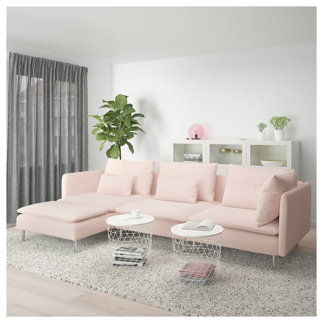 SÖDERHAMN Sectional, 4 seat with chaise, Samsta light pink