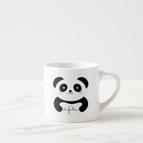 Cute Girly Baby Panda Bear Monogram Espresso Cup | Zazzle.com #babypandabears