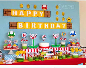 Super Mario inspired birthday banner without name mario birthday