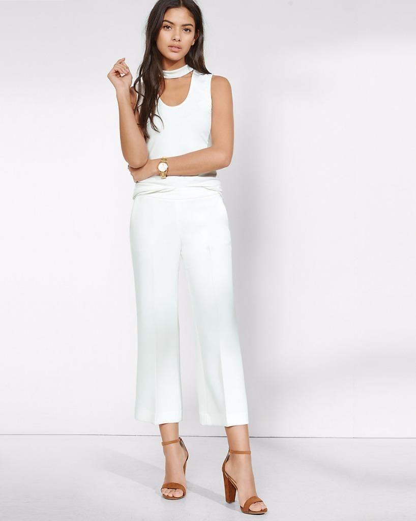 14ff5706f4 $12.99 - Express Medium White Cut-Out V-Neck Choker Tank Top Sleeveless  Shirt
