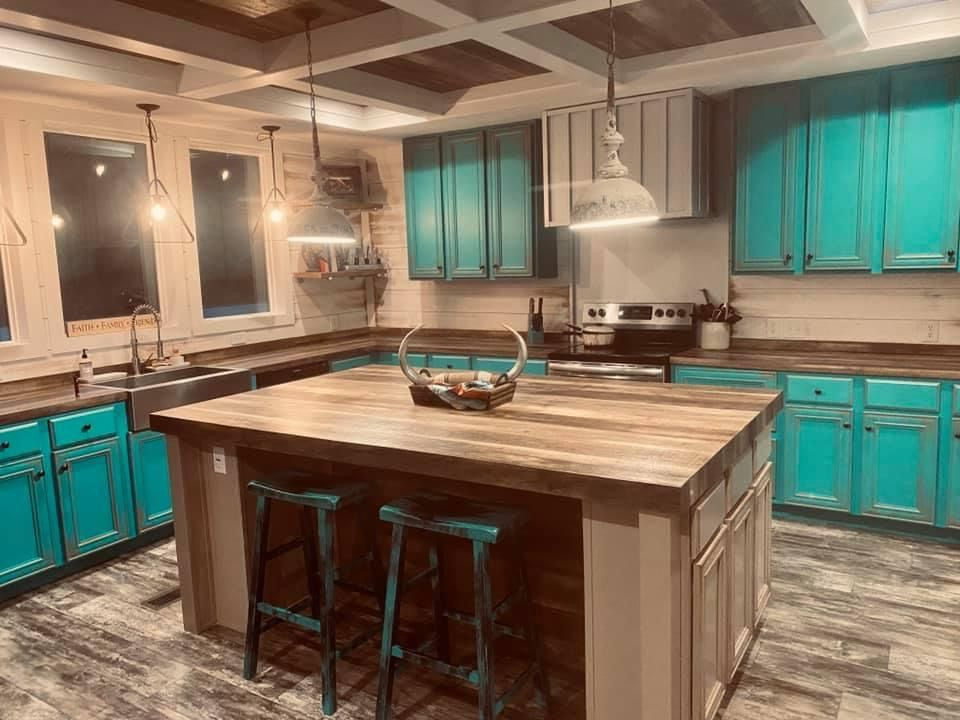 Turquoise Kitchen Cabinets Farmhouse Remodel Rustic