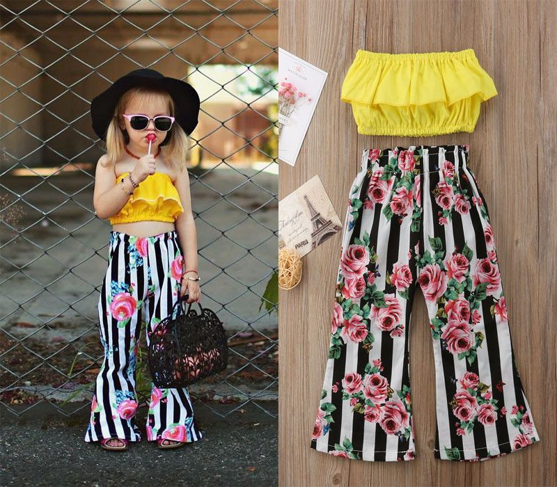 01d9a0f4c542d Girl Kids Fashion Outfit Off-shoulder Yellow Top +Floral Striped Flare  Trousers