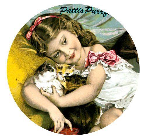 1 1/2 Fabric Cat Button - Bundle of Joy. $4.95, via Etsy.