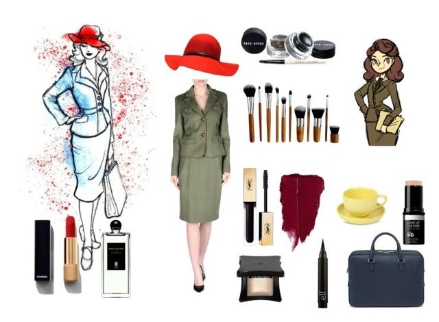 """""""Peggy Carter"""" by cluelesscouture on Polyvore featuring Blugirl, Serge Lutens, Chanel, Yves Saint Laurent, Illamasqua, Mud Australia and Mulberry"""