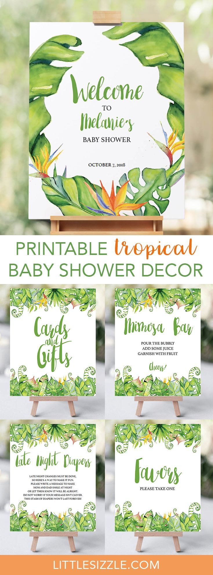 Tropical baby shower decor ideas by LittleSizzle. Decorating your tropical baby shower is almost as fun as the party itself! With these beautiful tropical themed DIY signs with green banana leaf, you will add a great touch to any neutral baby shower. This green shower decor pack includes a welcome sign, mimosa bar sign, favors sign and cards and gifts sign. #babyshowerdecor #babyshowerthemes #DIY #printable #greenleaf #Hawaiian #Luau