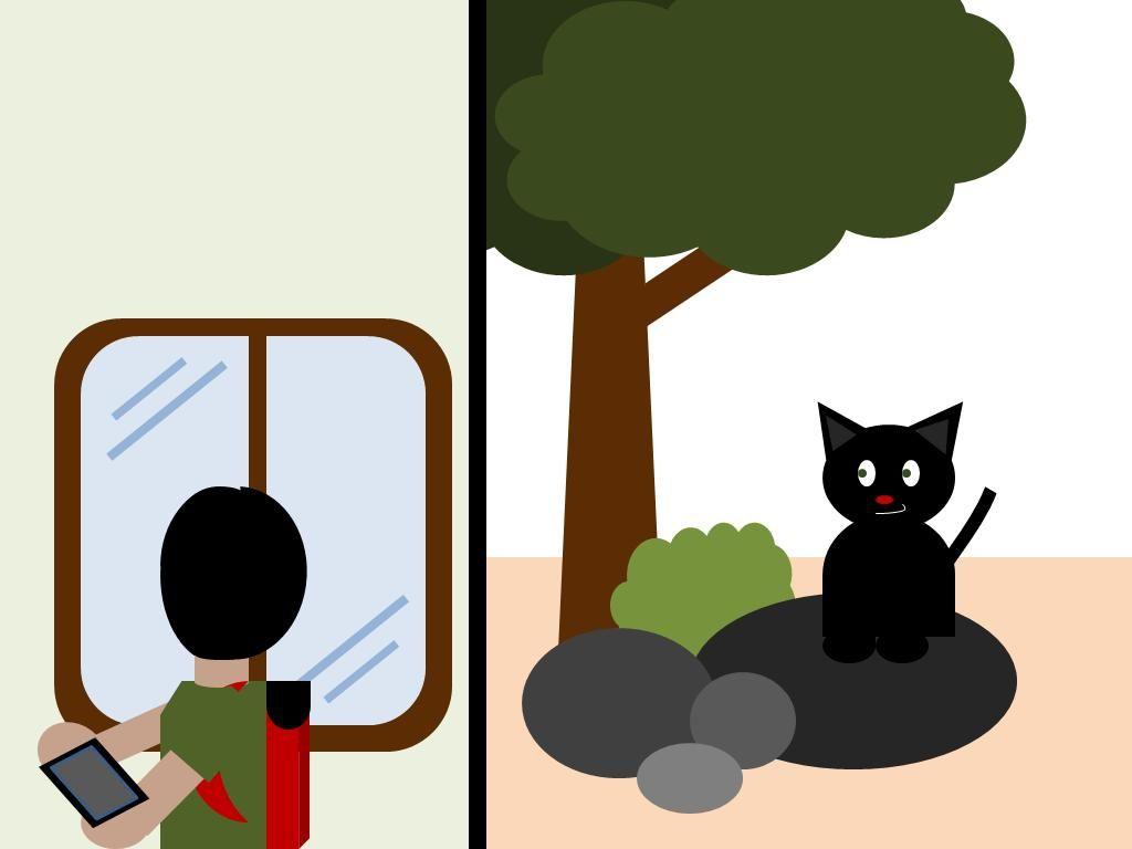 Di luar ada kucing hitam yang menyeringai ke arahnya Oland terkejut dan segera berlari