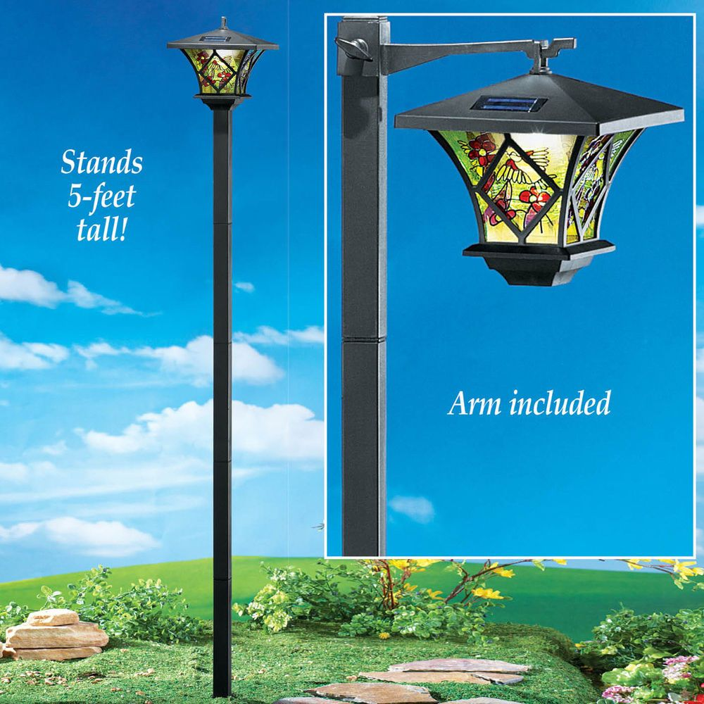 SOLAR TALL LAMP POST GARDEN YARD LAWN PATIO PATH LIGHT OUTDOOR HOME DECOR  #Unbranded
