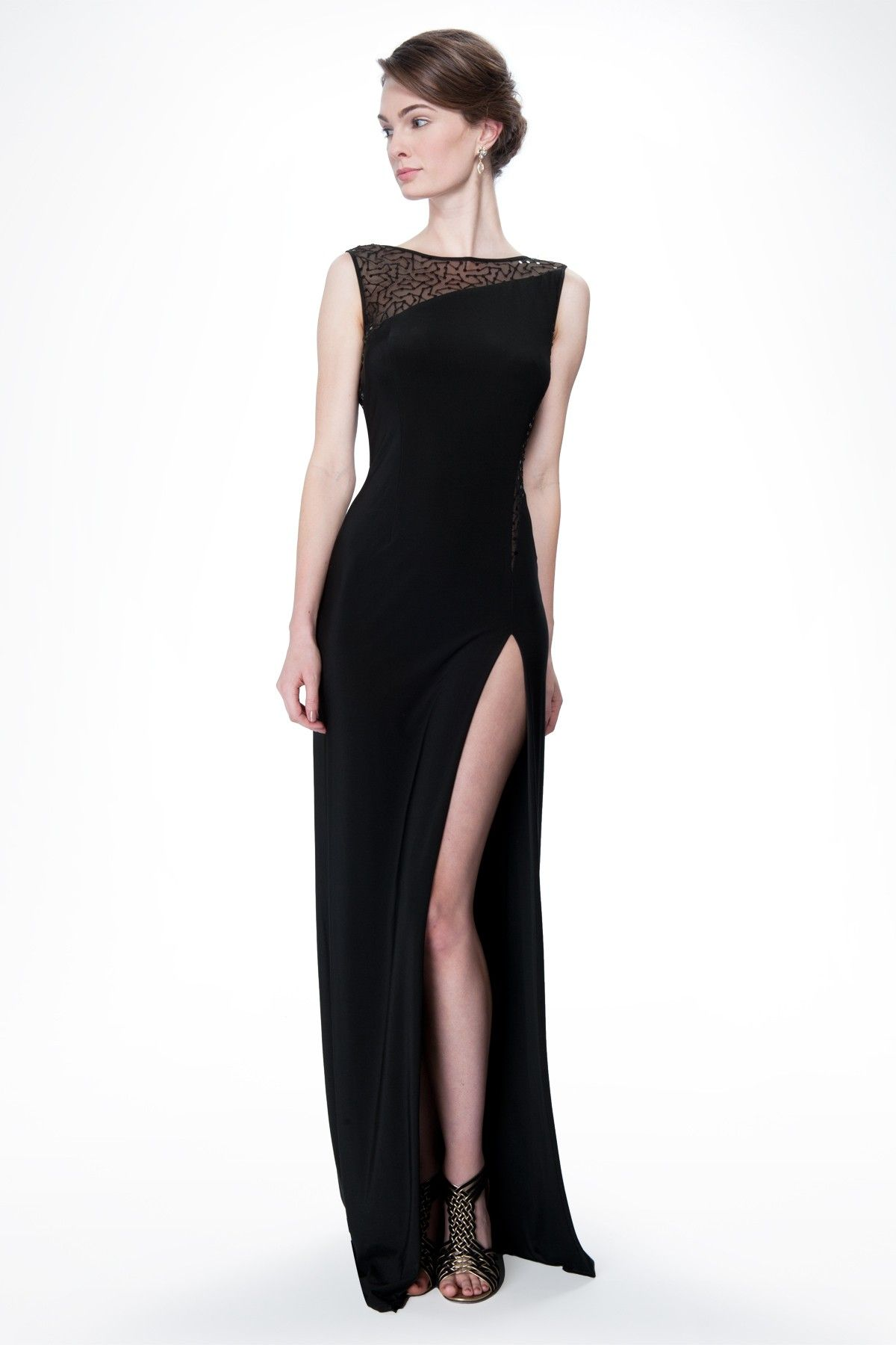 Sequin and Jersey Side Slit Gown in Black Prom Dresses Tadashi