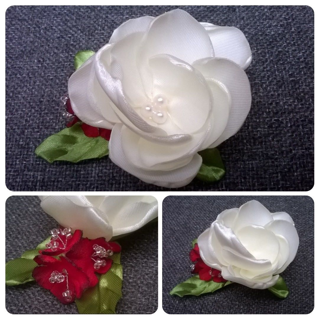 Headdress Of White Flower And Red Flowers Flower Hairclip Pin Up