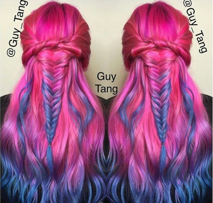 Pink ombre braided dyed hair color inspiration