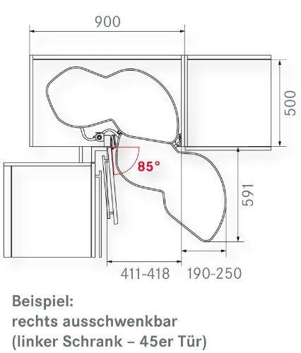Kessebohmer Eckschrank Schwenkboden Le Mansii 40 Links 720 900mm
