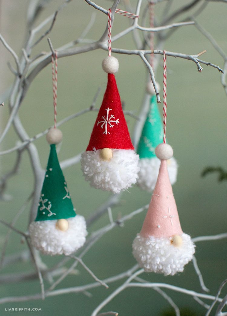 How to Make Pom-Pom Gnome Ornaments - Lia Griffith