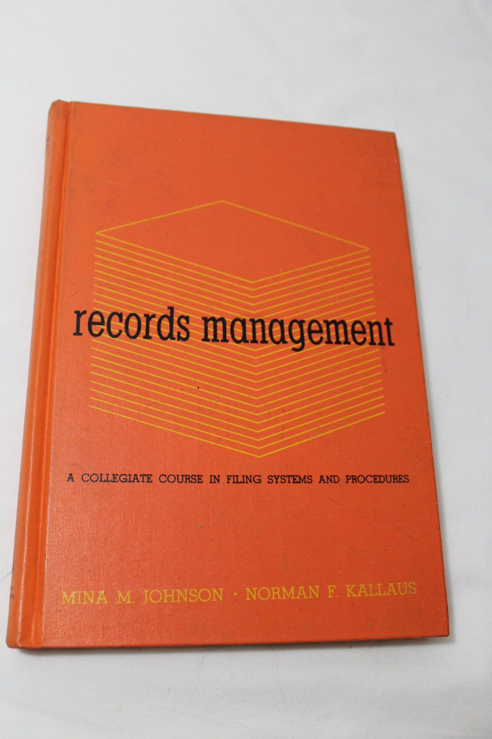 Records Management A Collegiate Course In Filing Systems And Etsy Records Management Filing System Hardbound Book